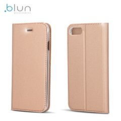 Blun Premium Matt Eco-leather Smart Magnetic Fix Book case with stand Huawei P8 Lite (2017) / P9 Lite (2017) Rose Gold kaina ir informacija | Telefono dėklai | pigu.lt