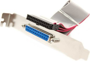 LPT Parallel connection cable, internal / external on slot bracket (DB25 F)