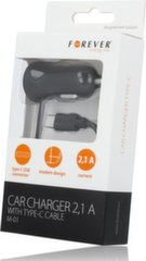 Forever M01 Car charger 2.1A with Type-C cable and LED indicator / 1,5m Black