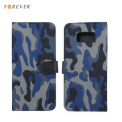 Forever ARMY super thin Fabric book case with silicone holder and stand for Samsung J710F Galaxy J7 (2016) Dark blue