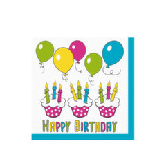 "Vienkartinės servetėlės Wimex ""Happy birthday"" 33x33 cm, 20 vnt. kaina ir informacija | Dekoracijos, indai šventėms | pigu.lt"