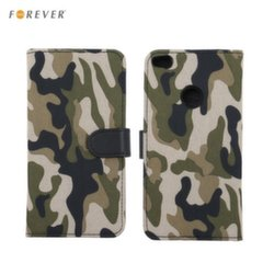 Forever ARMY super thin Fabric book case with silicone holder and stand for Samsung J330F Galaxy J3 (2017) Khaki