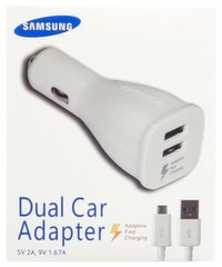 Samsung EP-LN920 Universal 2A 15W 2x USB Quick Car Charger + Micro USB Cable 1.5m White (EU Blister)