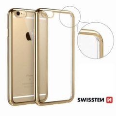 Swissten Elektro Jelly Back Case 0.5 mm Silicone Case With Frame for Apple iPhone X Transparent - Gold