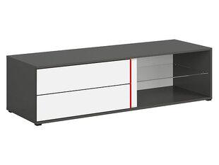 RTV staliukas Graphic B 143 cm, baltas/pilkas kaina ir informacija | TV staliukai | pigu.lt