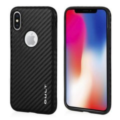 Qult Luxury Carbon Back Case Silicone Case for Apple iPhone X Black kaina ir informacija | Telefono dėklai | pigu.lt