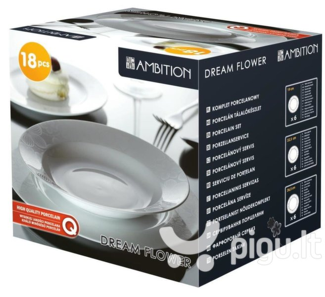 AMBITION Dream Flower light silver pietų servizas, 18 dalių