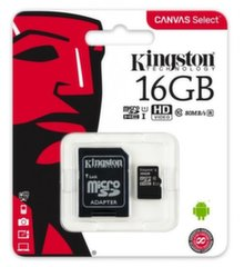 Atminties kortelė su adapteriu Kingston MicroSDHC, 16GB