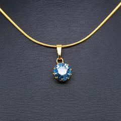 """Kaklo papuošalas moterims DiamondSky """"Shining Aquamarine"""" su Swarovski kristalais"""