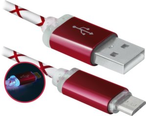 USB - MicroUSB kabelis Defender 87556, 1m, raudonas