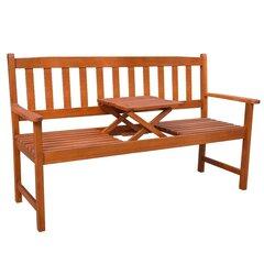 Sodo suoliukas su pakeliamu staliuku, akacijos mediena kaina ir informacija | Lauko suolai | pigu.lt
