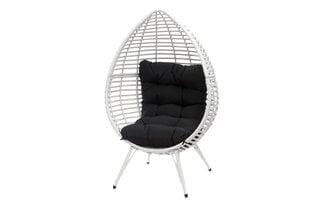 Fotelis Harmaa, baltas kaina ir informacija | Lauko kėdės, foteliai, pufai | pigu.lt