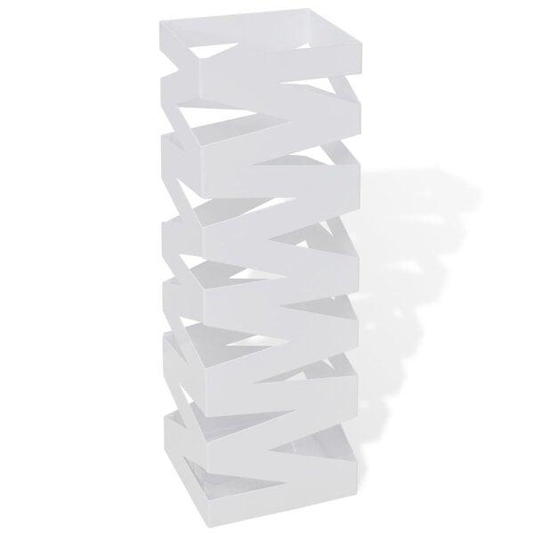 Baltas kvadratinis skėčių, vaikščiojimo lazdų stovas, plienas, 48,5 cm