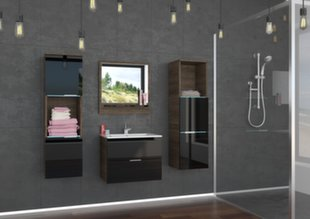Vonios baldų komplektas Lauro, juodas/rudas kaina ir informacija | Vonios baldai | pigu.lt