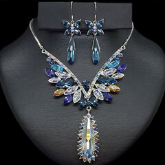 """Papuošalų rinkinys moterims DiamondSky """"Sapphire Butterfly"""" su Swarovski kristalais"""