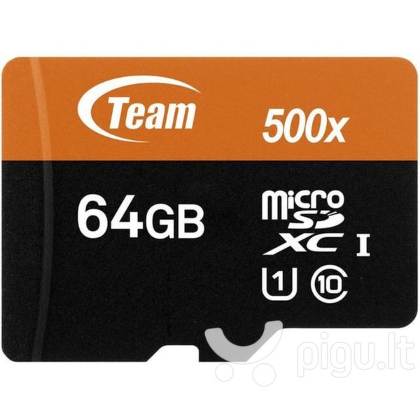 Atminties kortelė Flash Micro-SD 64GB Team UHS-I 1Adp