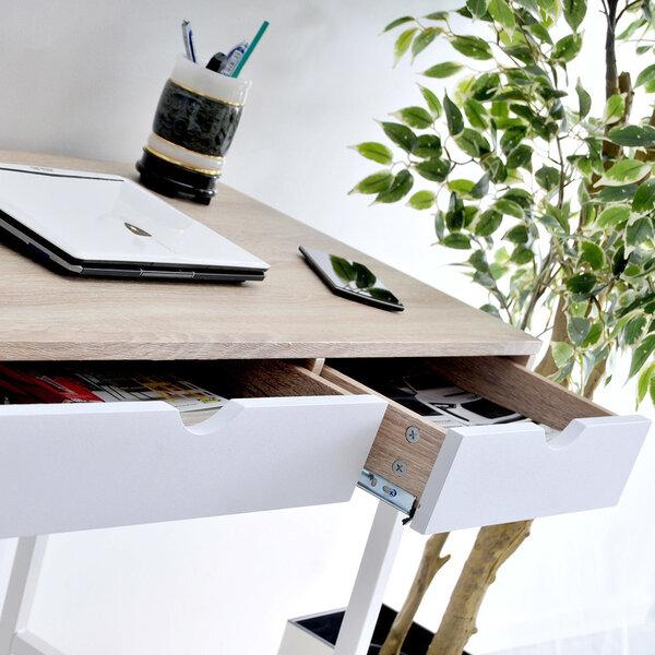 Rašomasis stalas Falun, baltos/ąžuolo spalvos