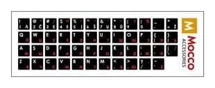 Klaviatūros lipdukai Mocco LT/ ENG / RU, laminuoti, nepralaidūs vandeniui, su baltomis ir raudonomis raidėmis kaina ir informacija | Klaviatūros | pigu.lt
