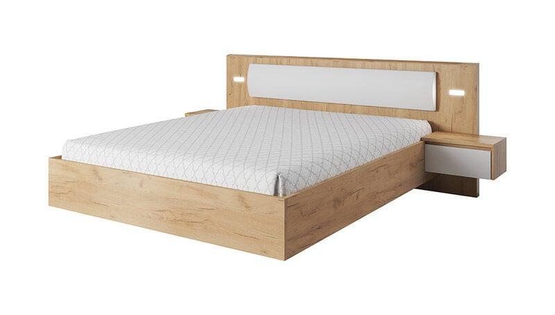 Lova su naktiniais staliukais Xelo 160x200 cm, baltos/ąžuolo spalvos