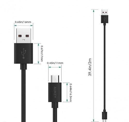 Spartaus krovimo USB laidas Aukey LLTS58187, micro USB - USB, 5 A, 480 Mb/s, 2 m, juodas