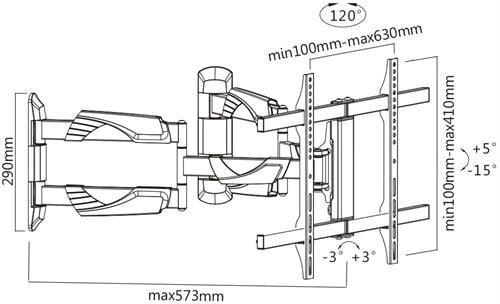 """Laikiklis DELTACO TV 32""""-55"""", 3 krypčių / ARM-528"""