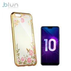 Blun DIAMOND ultra thin silicone back cover case for Huawei Honor 10 with Gold frame