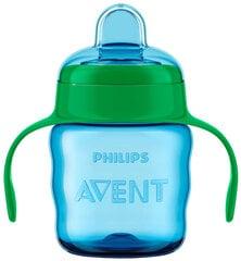 Neišsiliejantis puodelis su silikoniniu snapeliu Philips Avent Premium, 6 mėn+, 200 ml, mėlynas kaina ir informacija | Buteliukai kūdikiams ir jų priedai | pigu.lt