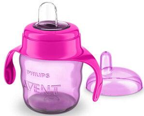 Neišsiliejantis puodelis su silikoniniu snapeliu Philips Avent Premium SCF551/03 200 ml, 6 mėn+, rausvas kaina ir informacija | Buteliukai kūdikiams ir jų priedai | pigu.lt