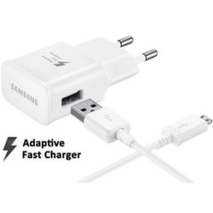Prekė su pažeista pakuote. Samsung EP-TA20EWE Quick Charge Universal USB / 15W / 2A Charger + ECB-DU4EWE Micro USB Cable White (OEM)