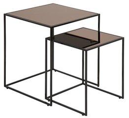 2-jų kavos staliukų komplektas Bolton, juodas/rudas kaina ir informacija | Kavos staliukai | pigu.lt