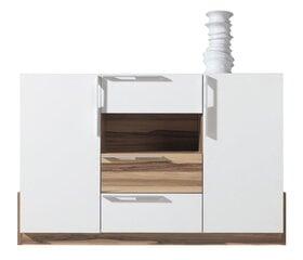 Komoda Morena 89x140x40 cm, balta/ruda kaina ir informacija | Komodos | pigu.lt