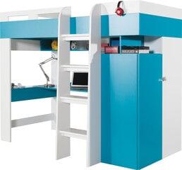 Dviaukštė lova Mobi 20, 200x90 cm, balta/mėlyna