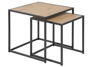 2-jų kavos staliukų komplektas Seaford, juodos/ąžuolo spalvos kaina ir informacija | Kavos staliukai | pigu.lt