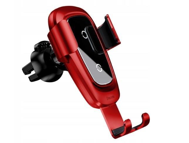 Baseus Metal Gravity WXYL-B09 telefono laikiklis ir belaidis kroviklis, raudonas