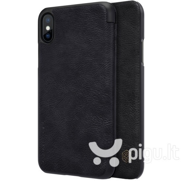 Nillkin Qin original leather case cover for iPhone XS / X black (Black)