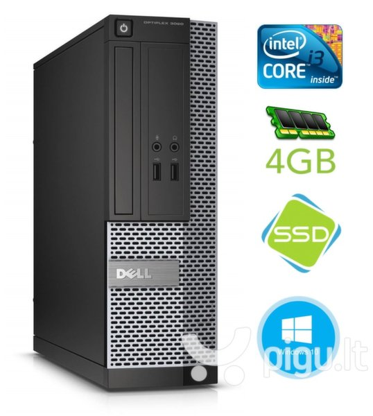 DELL 3020 SFF i3-4130 4GB 120SSD DVDRW WIN10Pro kaina ir informacija | Stacionarūs kompiuteriai | pigu.lt