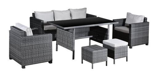 6-ių dalių lauko baldų komplektas King, pilkas kaina ir informacija | Lauko baldų komplektai | pigu.lt