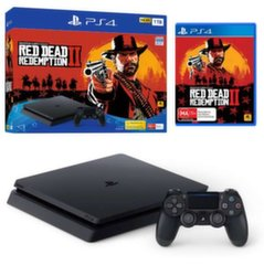 Sony Playstation 4 (PS4) Slim 1TB + Red Dead Redemtion 2 + 2 žaidimo pulteliai