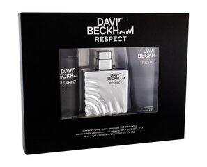 Rinkinys David Beckham Respect: tualetinis vanduo EDT vyrams 90 ml + purškiamas dezodorantas vyrams 150 ml + dušo želė vyrams 200 ml