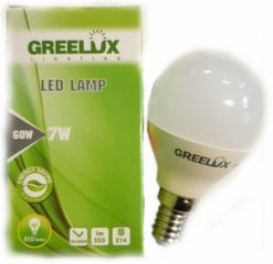 LED lemputė P45 7W E14 4000K 220-240V burbuliukas Greelux