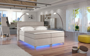 Lova Amadeo su LED apšvietimu, 140x200 cm, gobelenas, kreminė