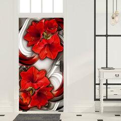 Durų fototapetas - Photo wallpaper - Abstraction and red flowers I kaina ir informacija | Fototapetai | pigu.lt