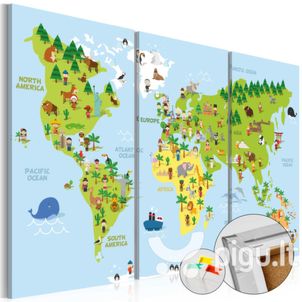 Map Of The World Picture.Kamstinis Paveikslas Children S World Cork Map
