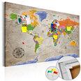 Kamštinis paveikslas - World Map: Retro Style [Cork Map] kaina ir informacija | Reprodukcijos, paveikslai | pigu.lt