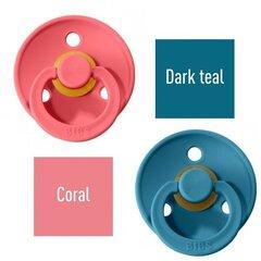 Čiulptukai BIBS 2 vnt. Coral/ Dark Teal 0-6 mėn. kaina ir informacija | Čiulptukai | pigu.lt