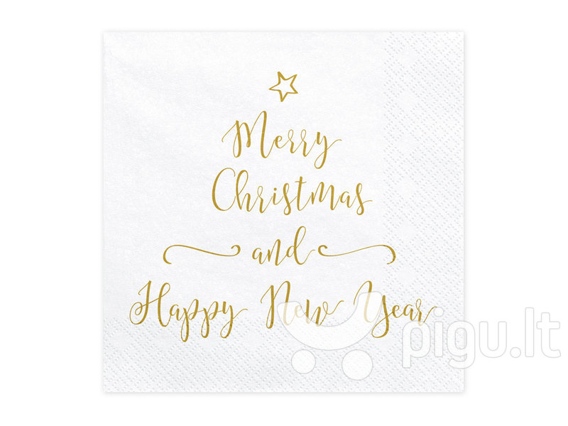 Merry Christmas And Happy New Year.Popierinės Servetėlės Merry Christmas And Happy New Year 33x33 Cm 1 Pak 20 Vnt