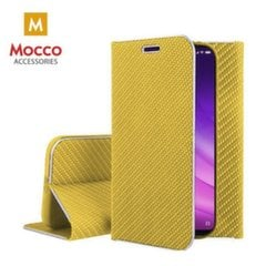 Mocco Carbon Leather Book Case For Apple iPhone X / XS Gold kaina ir informacija | Telefono dėklai | pigu.lt