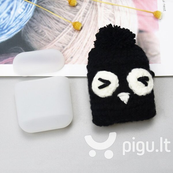 Ausinių dėklas Hurtel silicon case box with a wool cap for AirPods 1/2 Owl
