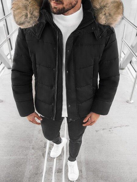 """Vyriška juoda žieminė striukė su kailiniu gobtuvu """"Nusil"""""""
