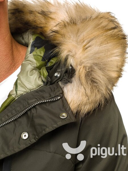 """Žalios spalvos vyriška universali žieminė striukė su kailiu """"Give"""" pigiau"""